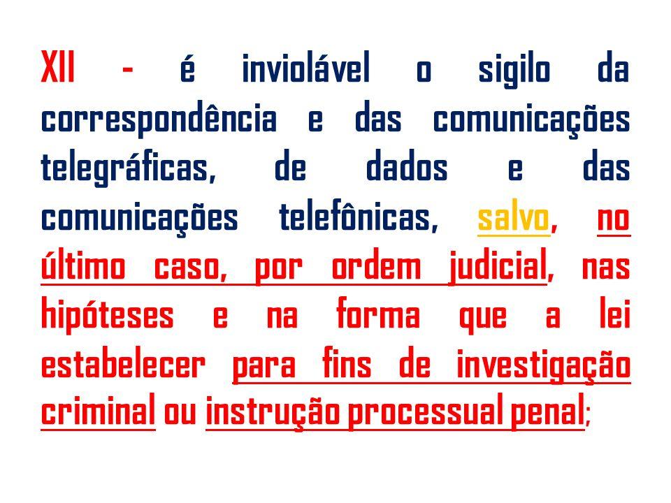 XII - é inviolável o sigilo da correspondência e das comunicações telegráficas, de dados e das comunicações telefônicas, salvo, no último caso, por ordem judicial, nas hipóteses e na forma que a lei estabelecer para fins de investigação criminal ou instrução processual penal ;