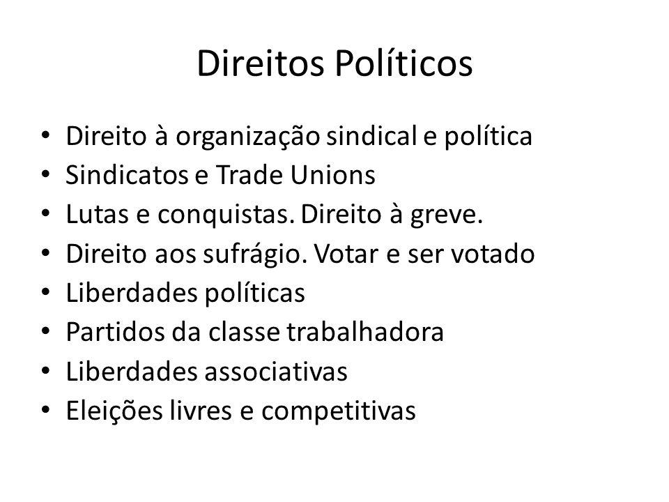 Direitos Políticos Direito à organização sindical e política Sindicatos e Trade Unions Lutas e conquistas.