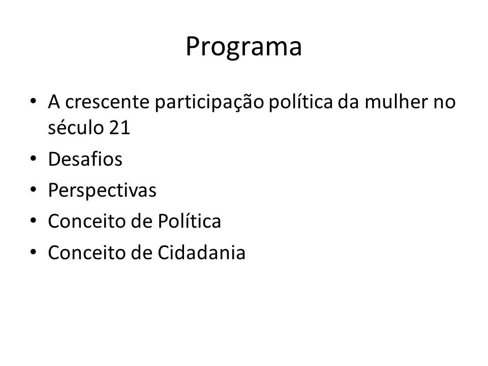 Programa A crescente participação política da mulher no século 21 Desafios Perspectivas Conceito de Política Conceito de Cidadania