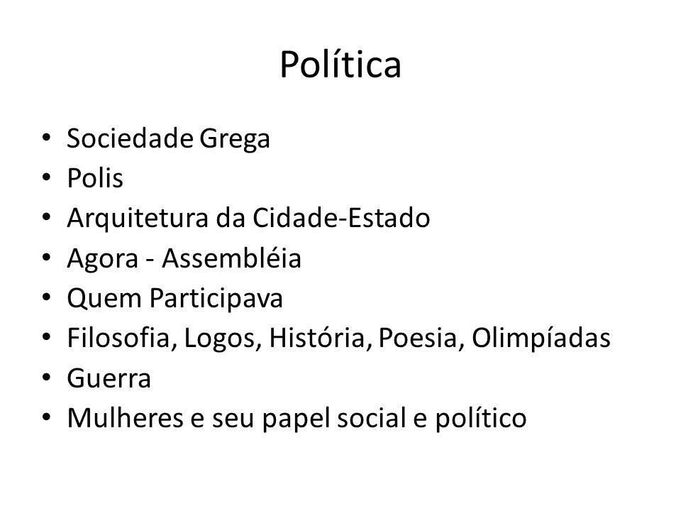 Política Sociedade Grega Polis Arquitetura da Cidade-Estado Agora - Assembléia Quem Participava Filosofia, Logos, História, Poesia, Olimpíadas Guerra Mulheres e seu papel social e político