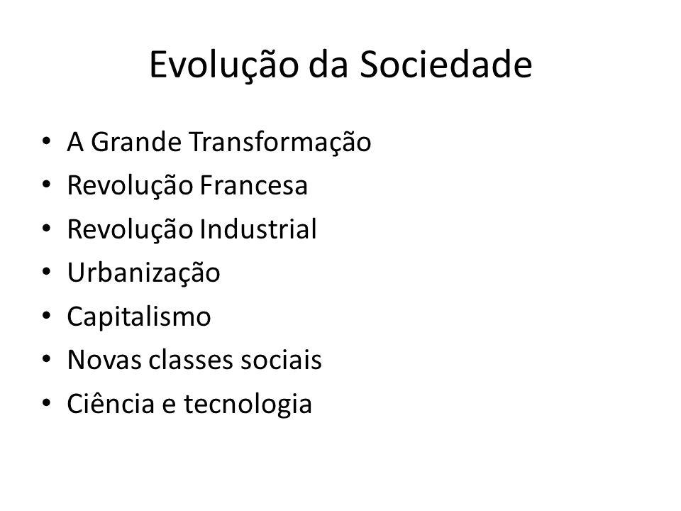Evolução da Sociedade A Grande Transformação Revolução Francesa Revolução Industrial Urbanização Capitalismo Novas classes sociais Ciência e tecnologia