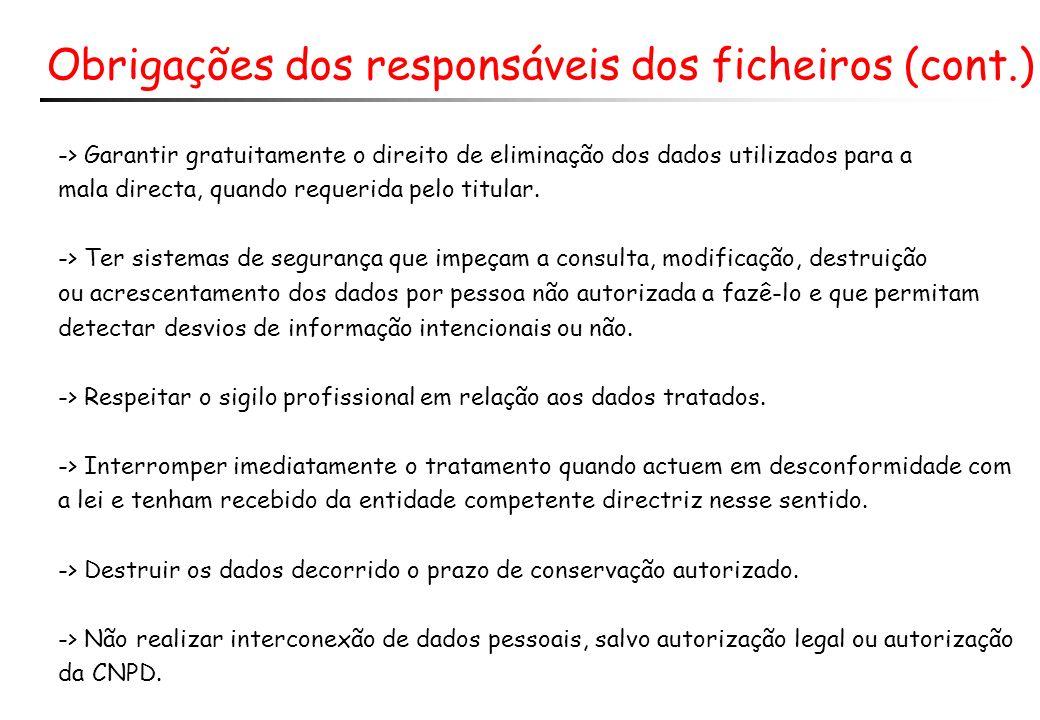 Obrigações dos responsáveis dos ficheiros (cont.) -> Garantir gratuitamente o direito de eliminação dos dados utilizados para a mala directa, quando requerida pelo titular.