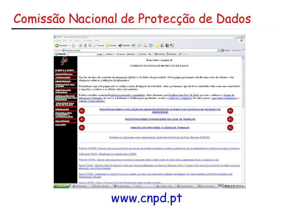 Comissão Nacional de Protecção de Dados www.cnpd.pt