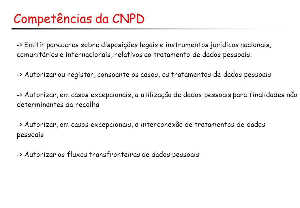 Competências da CNPD -> Emitir pareceres sobre disposições legais e instrumentos jurídicos nacionais, comunitários e internacionais, relativos ao trat