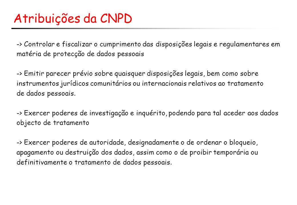 Atribuições da CNPD -> Controlar e fiscalizar o cumprimento das disposições legais e regulamentares em matéria de protecção de dados pessoais -> Emiti