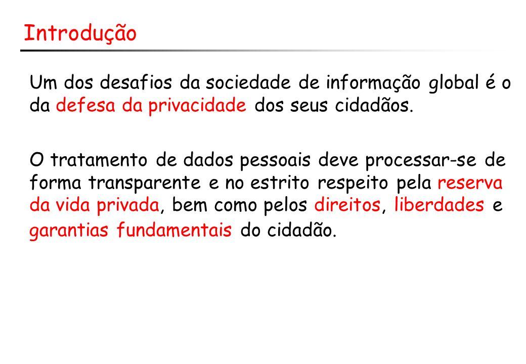Introdução Um dos desafios da sociedade de informação global é o da defesa da privacidade dos seus cidadãos. O tratamento de dados pessoais deve proce