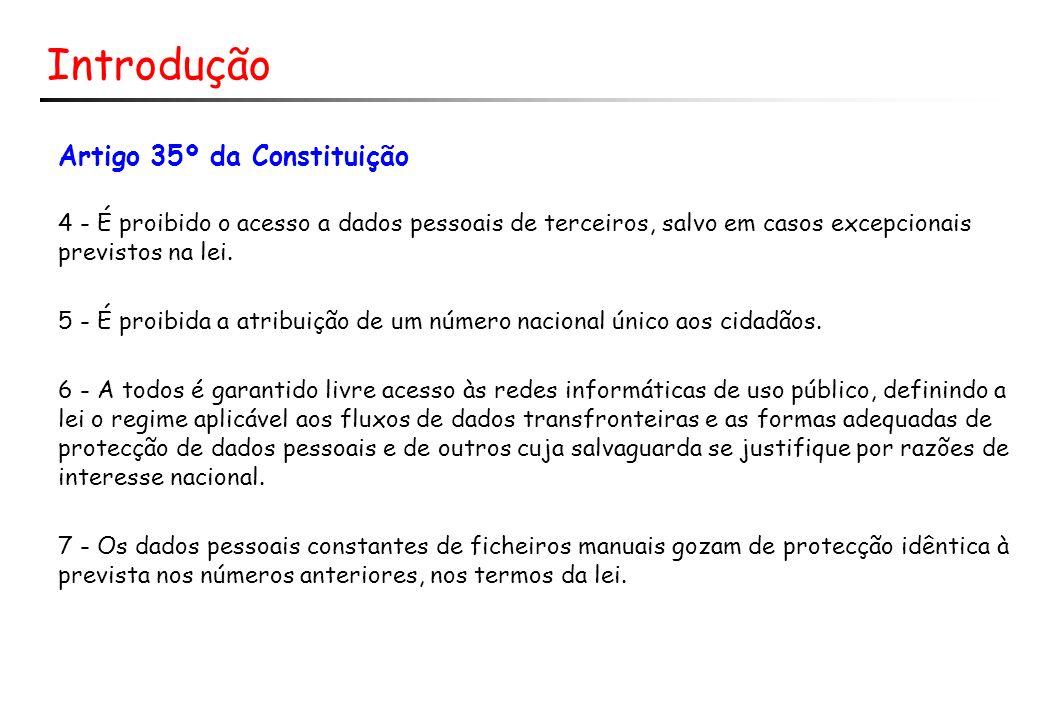 Introdução Artigo 35º da Constituição 4 - É proibido o acesso a dados pessoais de terceiros, salvo em casos excepcionais previstos na lei. 5 - É proib
