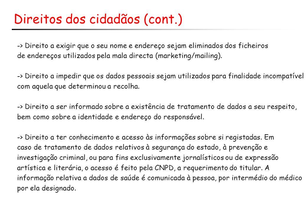 Direitos dos cidadãos (cont.) -> Direito a exigir que o seu nome e endereço sejam eliminados dos ficheiros de endereços utilizados pela mala directa (marketing/mailing).
