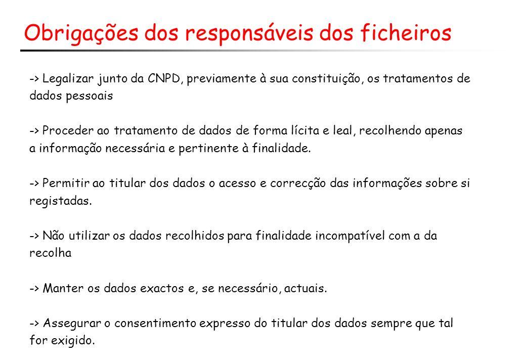 Obrigações dos responsáveis dos ficheiros -> Legalizar junto da CNPD, previamente à sua constituição, os tratamentos de dados pessoais -> Proceder ao tratamento de dados de forma lícita e leal, recolhendo apenas a informação necessária e pertinente à finalidade.