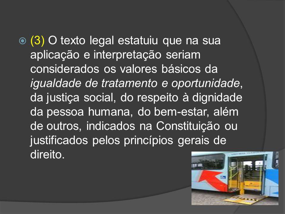 (3) O texto legal estatuiu que na sua aplicação e interpretação seriam considerados os valores básicos da igualdade de tratamento e oportunidade, da j