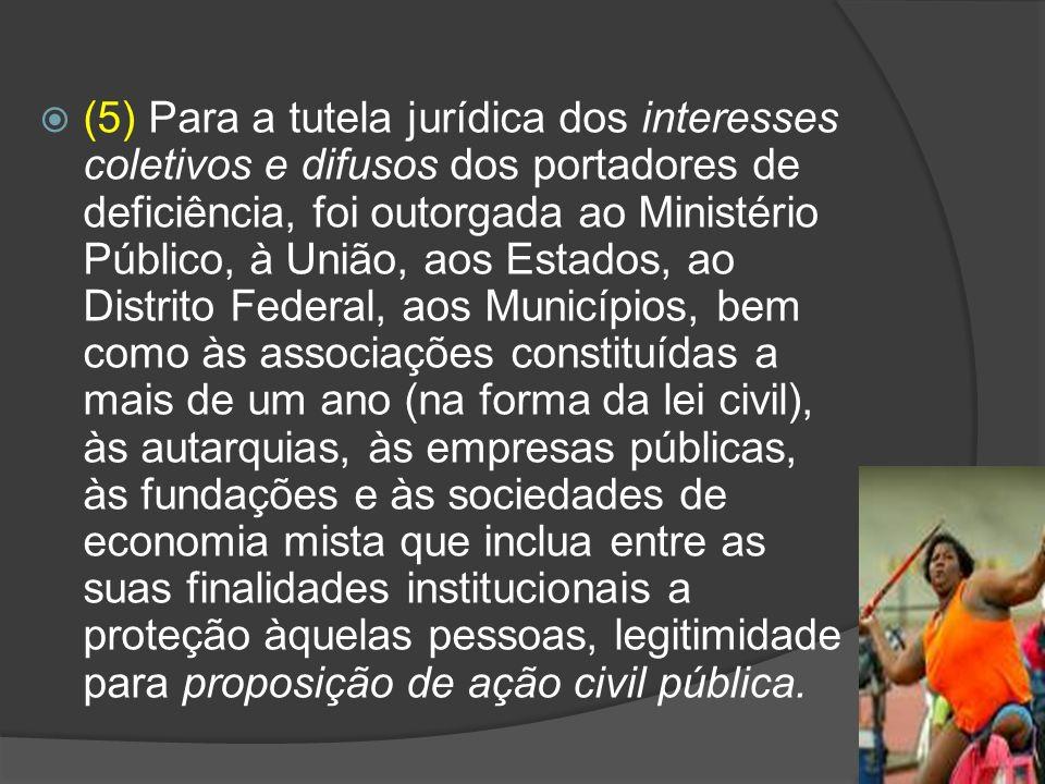 (5) Para a tutela jurídica dos interesses coletivos e difusos dos portadores de deficiência, foi outorgada ao Ministério Público, à União, aos Estados