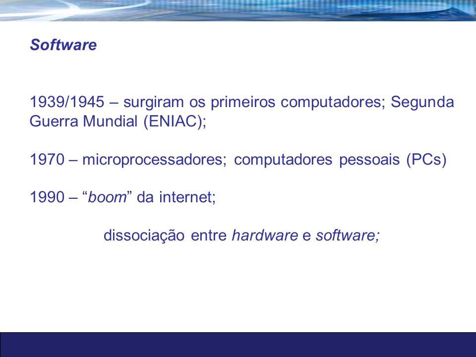 1939/1945 – surgiram os primeiros computadores; Segunda Guerra Mundial (ENIAC); 1970 – microprocessadores; computadores pessoais (PCs) 1990 – boom da