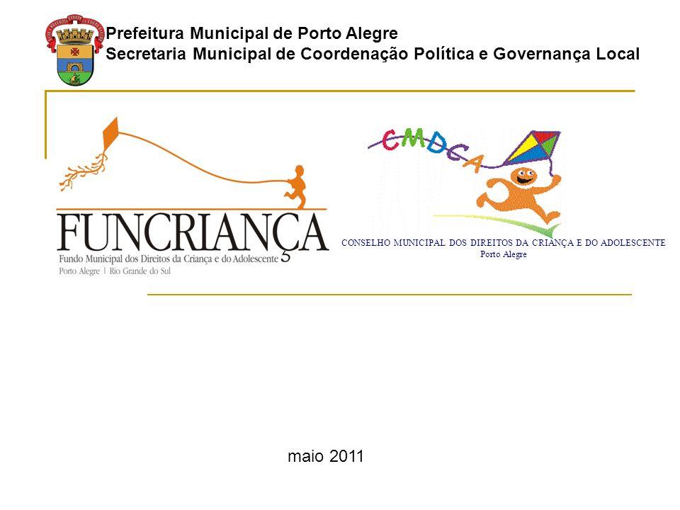 Prefeitura Municipal de Porto Alegre Secretaria Municipal de Coordenação Política e Governança Local maio 2011 CONSELHO MUNICIPAL DOS DIREITOS DA CRIANÇA E DO ADOLESCENTE Porto Alegre