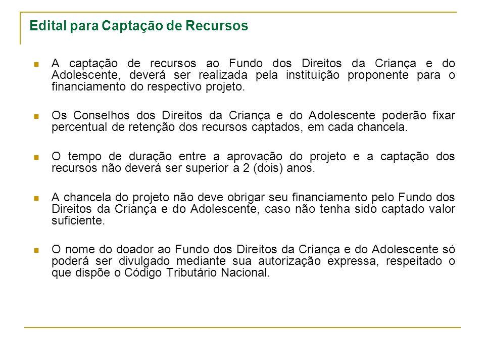 Edital para Captação de Recursos A captação de recursos ao Fundo dos Direitos da Criança e do Adolescente, deverá ser realizada pela instituição proponente para o financiamento do respectivo projeto.
