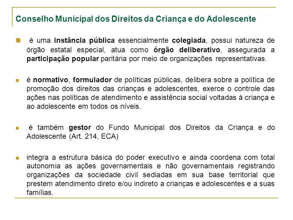 Conselho Municipal dos Direitos da Criança e do Adolescente é uma instância pública essencialmente colegiada, possui natureza de órgão estatal especial, atua como órgão deliberativo, assegurada a participação popular paritária por meio de organizações representativas.