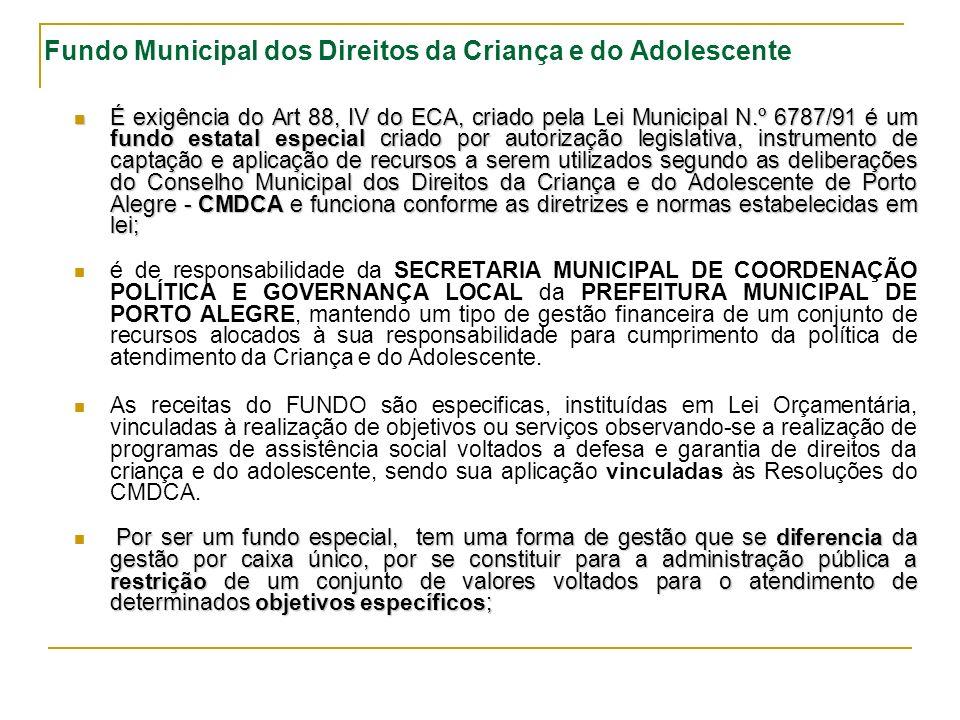Fundo Municipal dos Direitos da Criança e do Adolescente É exigência do Art 88, IV do ECA, criado pela Lei Municipal N.º 6787/91 é um fundo estatal especial criado por autorização legislativa, instrumento de captação e aplicação de recursos a serem utilizados segundo as deliberações do Conselho Municipal dos Direitos da Criança e do Adolescente de Porto Alegre - CMDCA e funciona conforme as diretrizes e normas estabelecidas em lei; É exigência do Art 88, IV do ECA, criado pela Lei Municipal N.º 6787/91 é um fundo estatal especial criado por autorização legislativa, instrumento de captação e aplicação de recursos a serem utilizados segundo as deliberações do Conselho Municipal dos Direitos da Criança e do Adolescente de Porto Alegre - CMDCA e funciona conforme as diretrizes e normas estabelecidas em lei; é de responsabilidade da SECRETARIA MUNICIPAL DE COORDENAÇÃO POLÍTICA E GOVERNANÇA LOCAL da PREFEITURA MUNICIPAL DE PORTO ALEGRE, mantendo um tipo de gestão financeira de um conjunto de recursos alocados à sua responsabilidade para cumprimento da política de atendimento da Criança e do Adolescente.