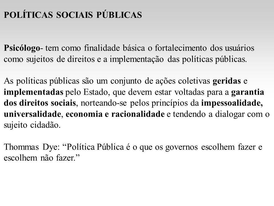 POLÍTICAS SOCIAIS PÚBLICAS Psicólogo- tem como finalidade básica o fortalecimento dos usuários como sujeitos de direitos e a implementação das políticas públicas.