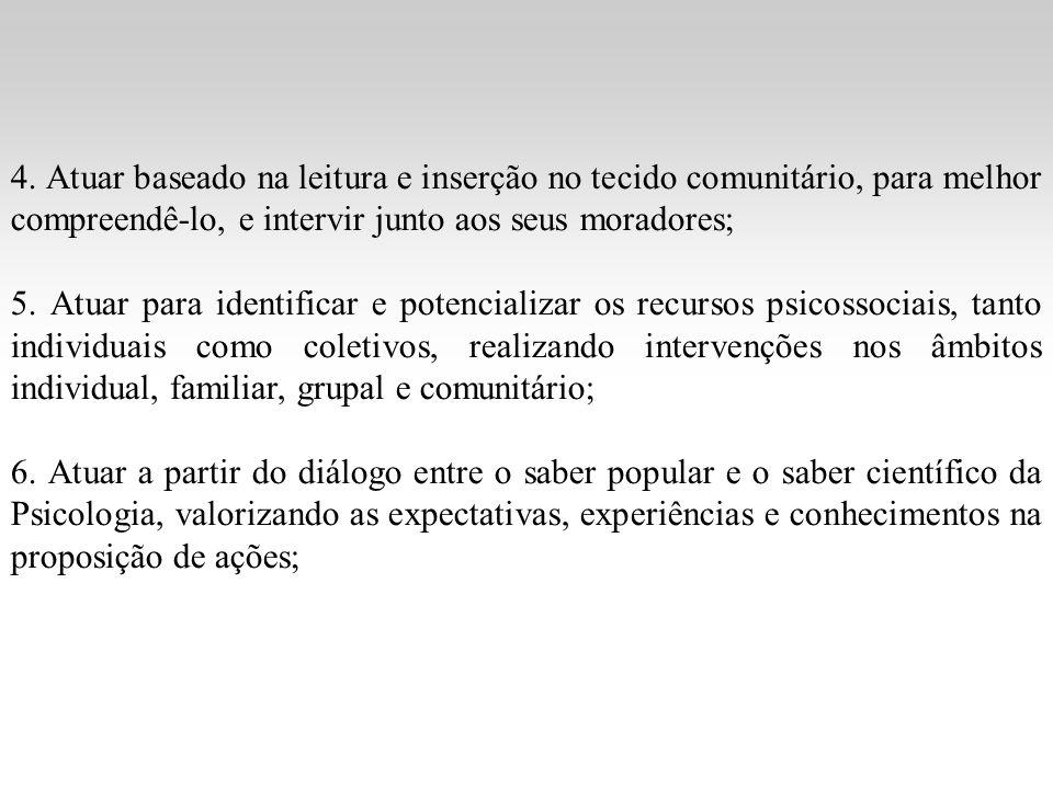 4. Atuar baseado na leitura e inserção no tecido comunitário, para melhor compreendê-lo, e intervir junto aos seus moradores; 5. Atuar para identifica