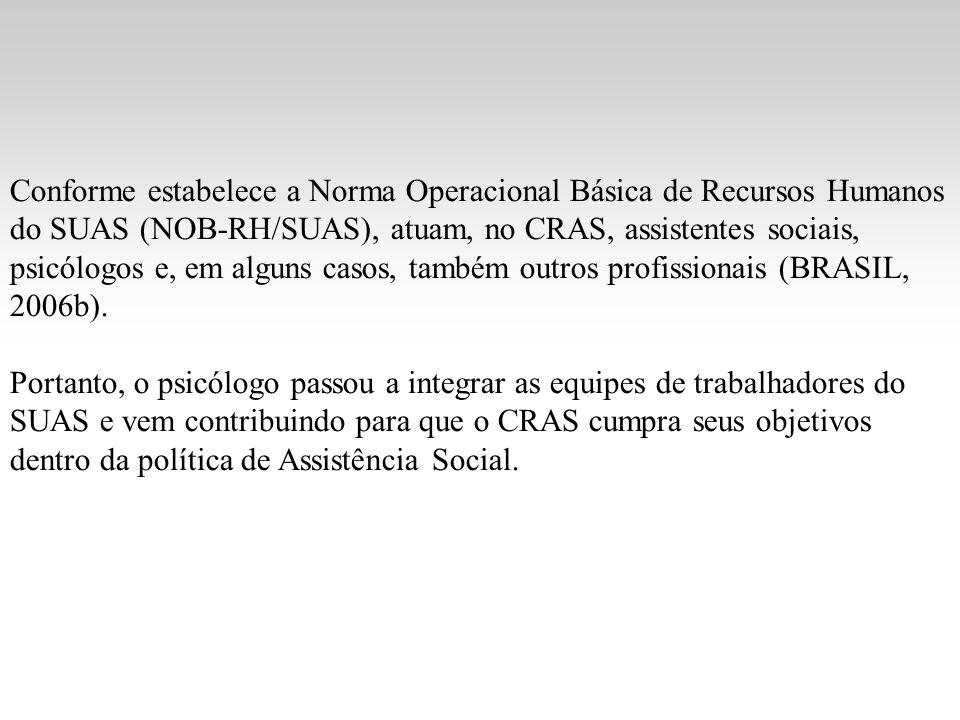 Conforme estabelece a Norma Operacional Básica de Recursos Humanos do SUAS (NOB-RH/SUAS), atuam, no CRAS, assistentes sociais, psicólogos e, em alguns casos, também outros profissionais (BRASIL, 2006b).