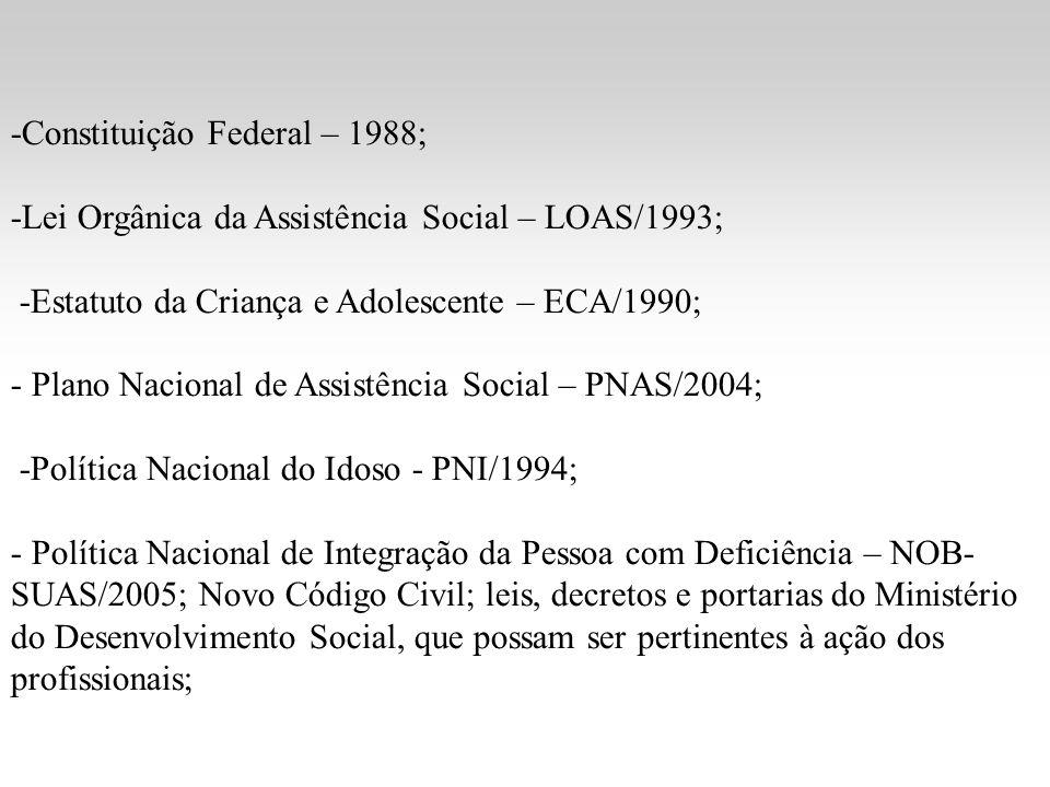 -Constituição Federal – 1988; -Lei Orgânica da Assistência Social – LOAS/1993; -Estatuto da Criança e Adolescente – ECA/1990; - Plano Nacional de Assi