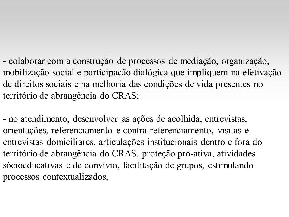 - colaborar com a construção de processos de mediação, organização, mobilização social e participação dialógica que impliquem na efetivação de direito