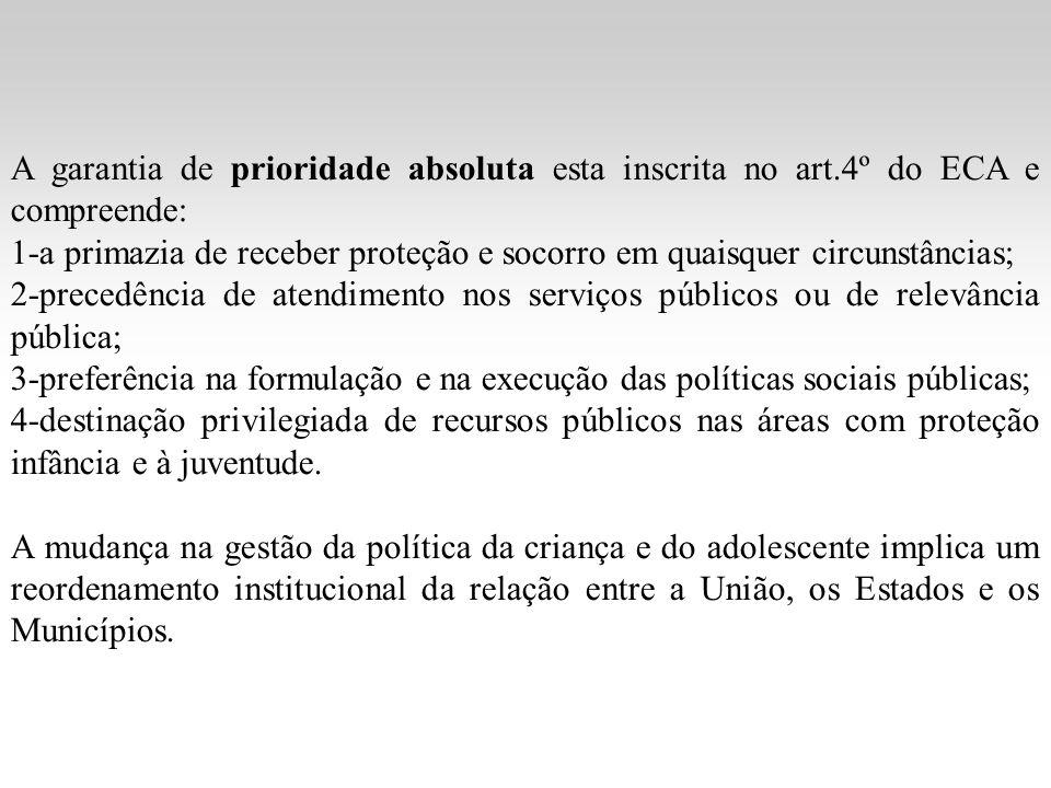 A garantia de prioridade absoluta esta inscrita no art.4º do ECA e compreende: 1-a primazia de receber proteção e socorro em quaisquer circunstâncias;