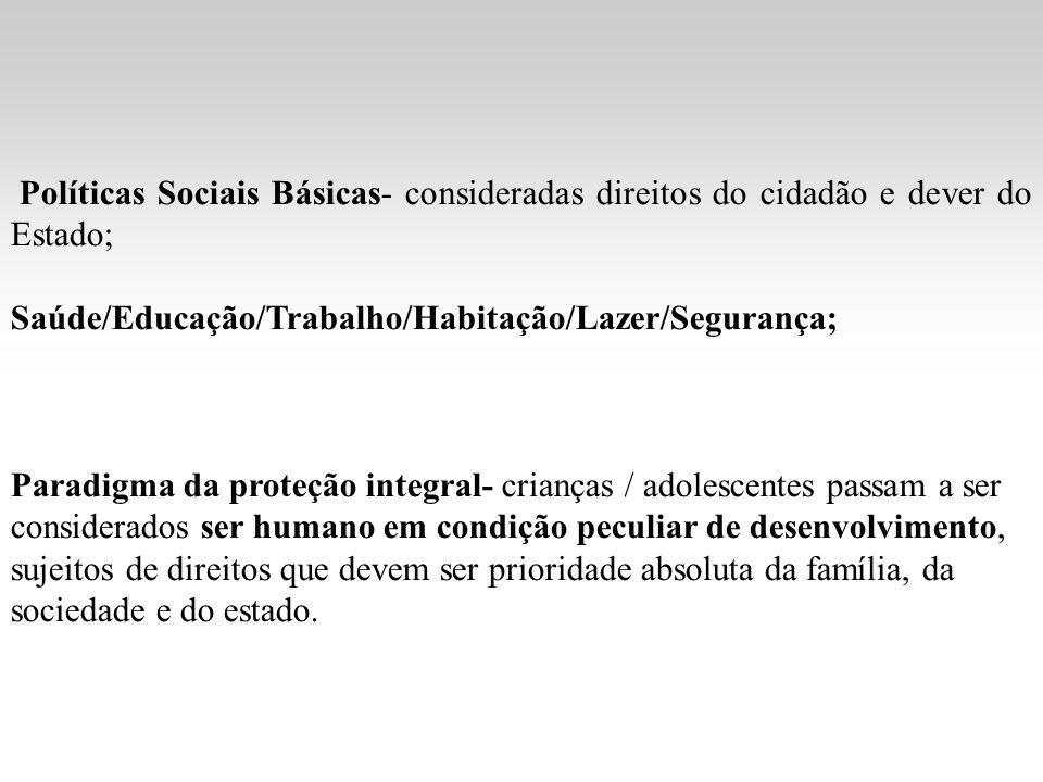 Políticas Sociais Básicas- consideradas direitos do cidadão e dever do Estado; Saúde/Educação/Trabalho/Habitação/Lazer/Segurança; Paradigma da proteçã