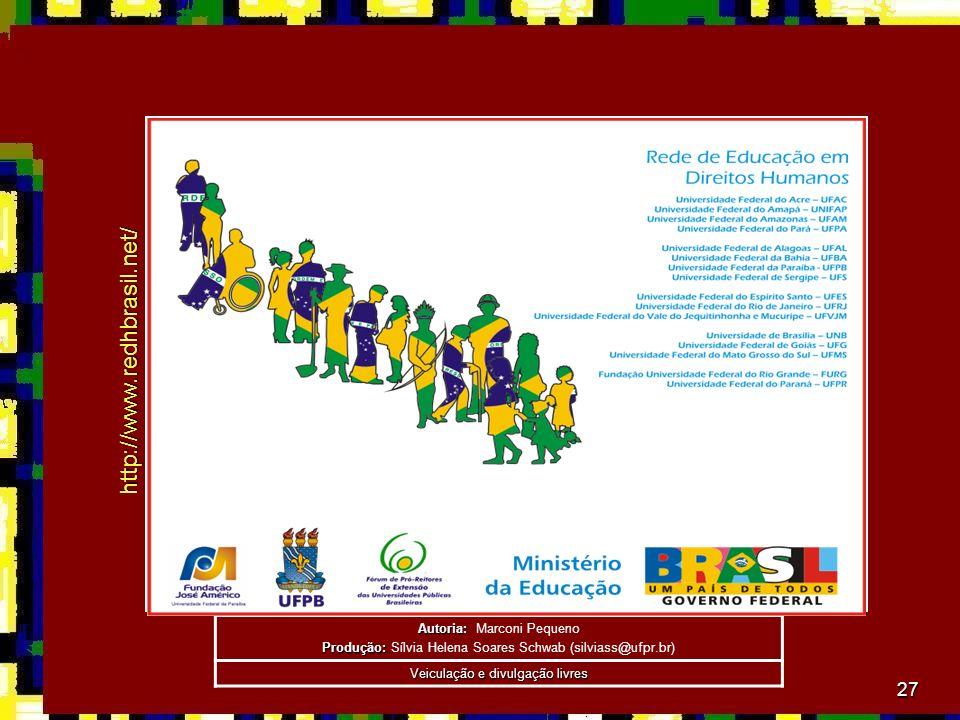 27 Autoria: Autoria: Marconi Pequeno Produção: Produção: Sílvia Helena Soares Schwab (silviass@ufpr.br) Veiculação e divulgação livres http://www.redhbrasil.net/