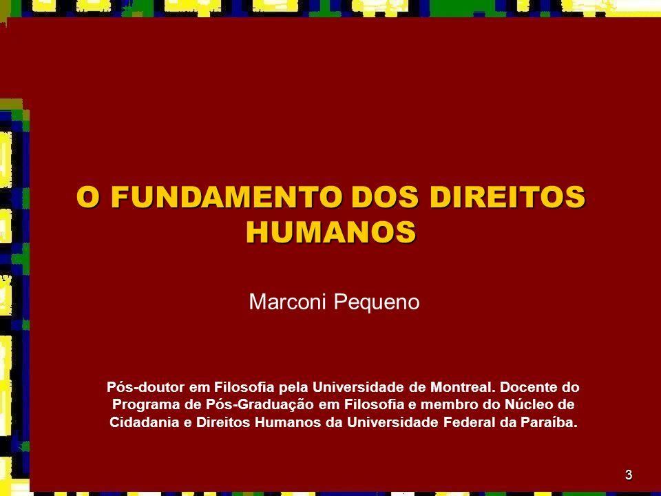 3 O FUNDAMENTO DOS DIREITOS HUMANOS Marconi Pequeno Pós-doutor em Filosofia pela Universidade de Montreal.