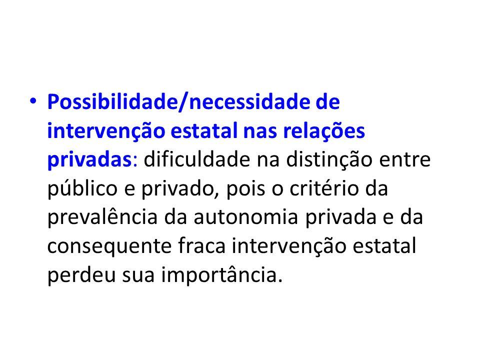 Possibilidade/necessidade de intervenção estatal nas relações privadas: dificuldade na distinção entre público e privado, pois o critério da prevalênc