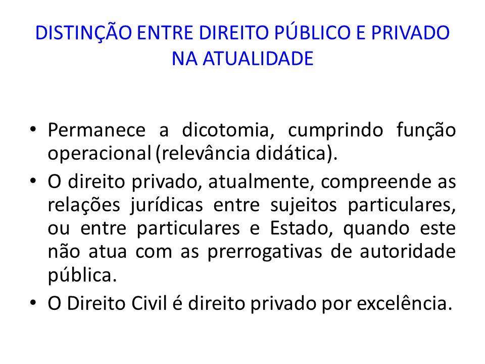 DISTINÇÃO ENTRE DIREITO PÚBLICO E PRIVADO NA ATUALIDADE Permanece a dicotomia, cumprindo função operacional (relevância didática). O direito privado,