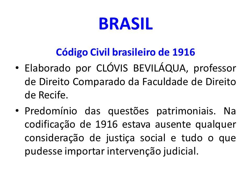 BRASIL Código Civil brasileiro de 1916 Elaborado por CLÓVIS BEVILÁQUA, professor de Direito Comparado da Faculdade de Direito de Recife. Predomínio da