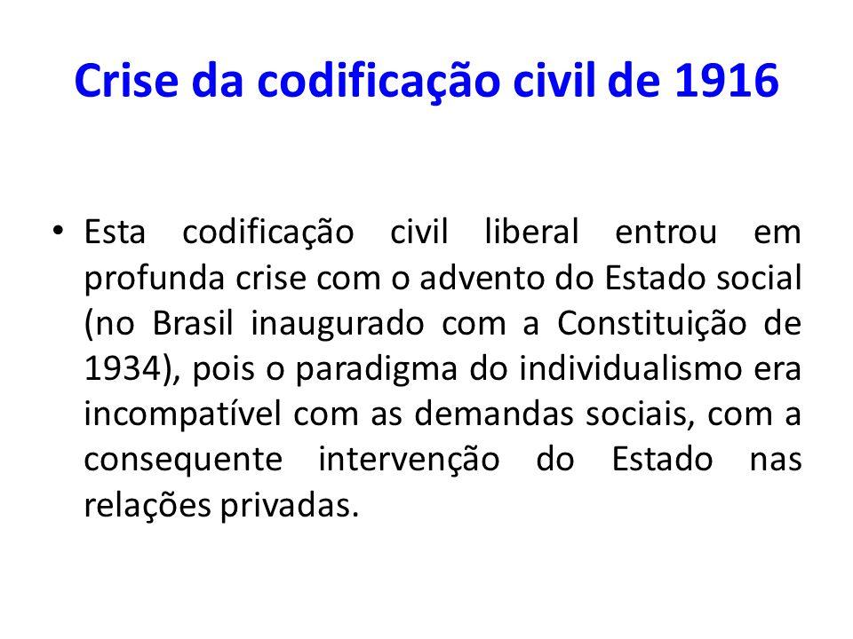 Crise da codificação civil de 1916 Esta codificação civil liberal entrou em profunda crise com o advento do Estado social (no Brasil inaugurado com a