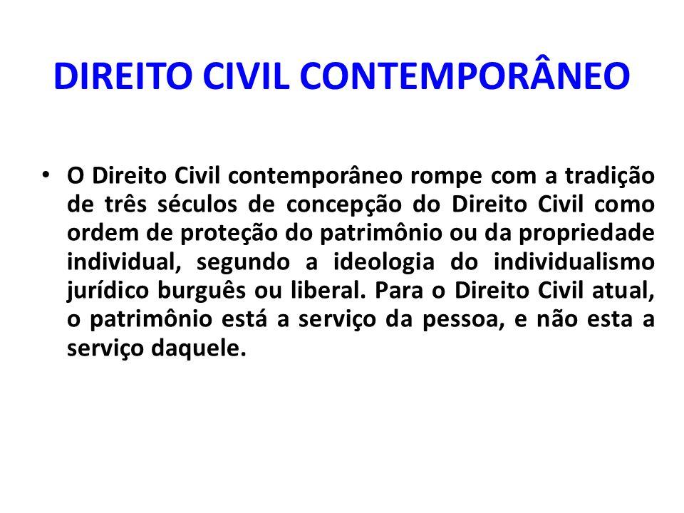 DIREITO CIVIL CONTEMPORÂNEO O Direito Civil contemporâneo rompe com a tradição de três séculos de concepção do Direito Civil como ordem de proteção do