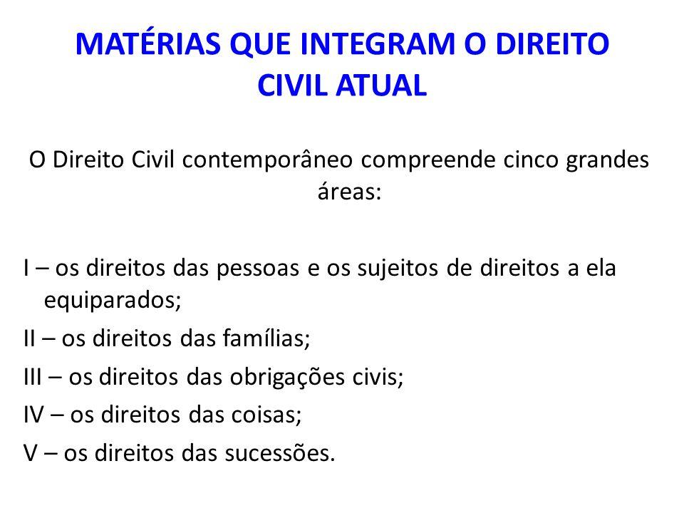 MATÉRIAS QUE INTEGRAM O DIREITO CIVIL ATUAL O Direito Civil contemporâneo compreende cinco grandes áreas: I – os direitos das pessoas e os sujeitos de