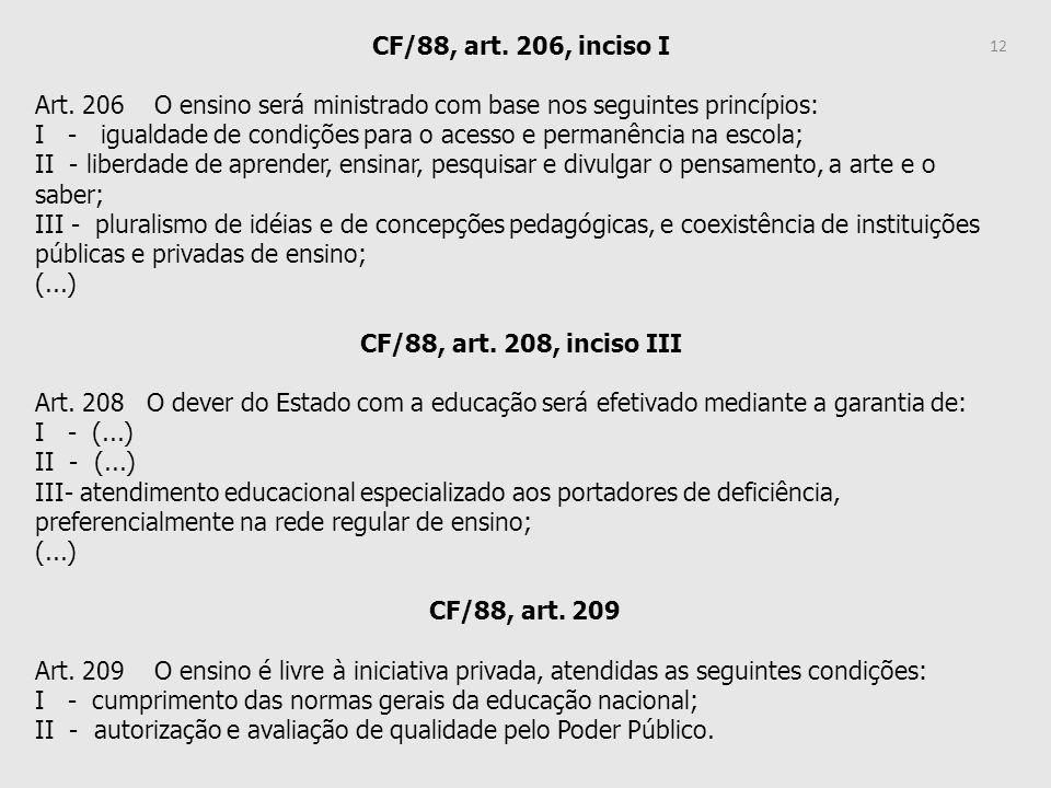 CF/88, art. 206, inciso I Art. 206 O ensino será ministrado com base nos seguintes princípios: I - igualdade de condições para o acesso e permanência