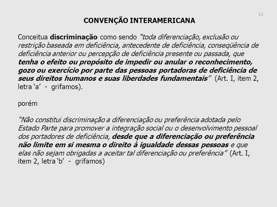 CONVENÇÃO INTERAMERICANA Conceitua discriminação como sendo toda diferenciação, exclusão ou restrição baseada em deficiência, antecedente de deficiênc