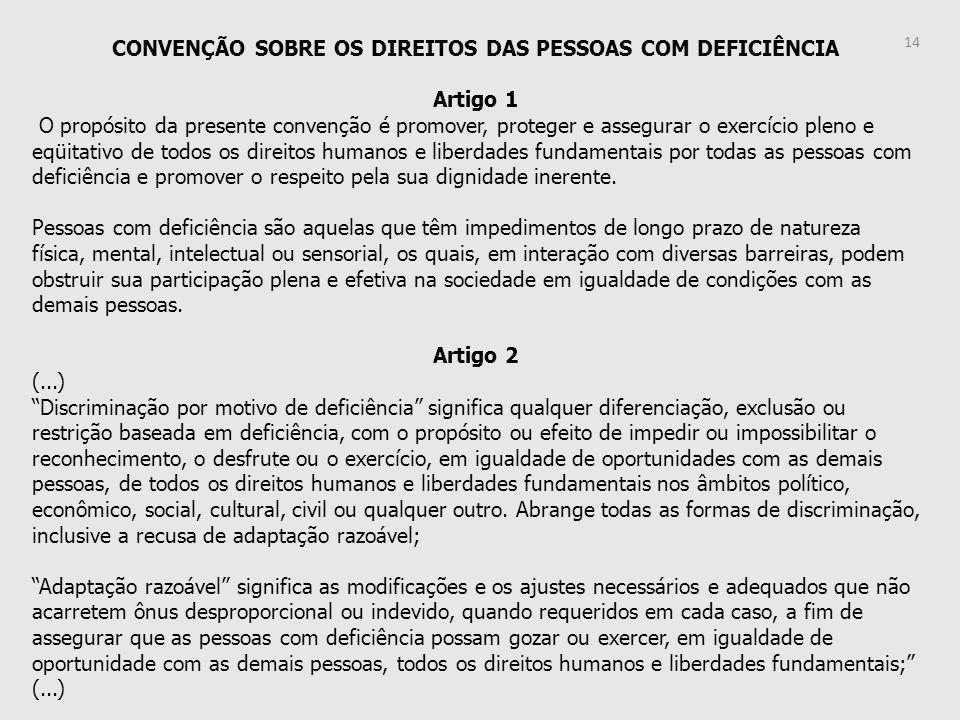 CONVENÇÃO SOBRE OS DIREITOS DAS PESSOAS COM DEFICIÊNCIA Artigo 1 O propósito da presente convenção é promover, proteger e assegurar o exercício pleno
