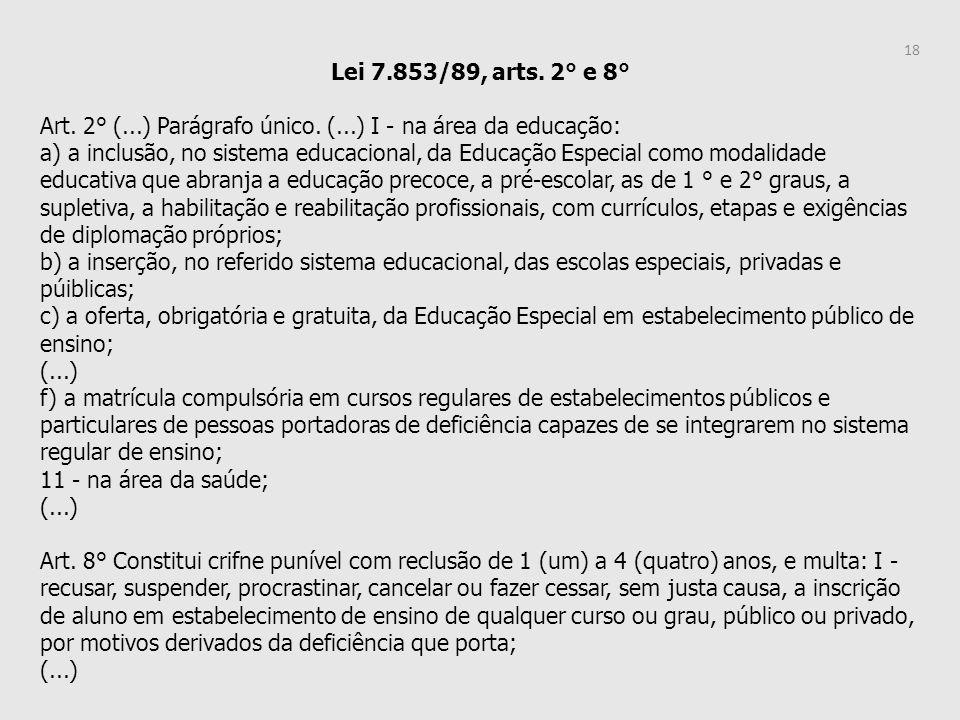 Lei 7.853/89, arts. 2° e 8° Art. 2° (...) Parágrafo único. (...) I - na área da educação: a) a inclusão, no sistema educacional, da Educação Especial