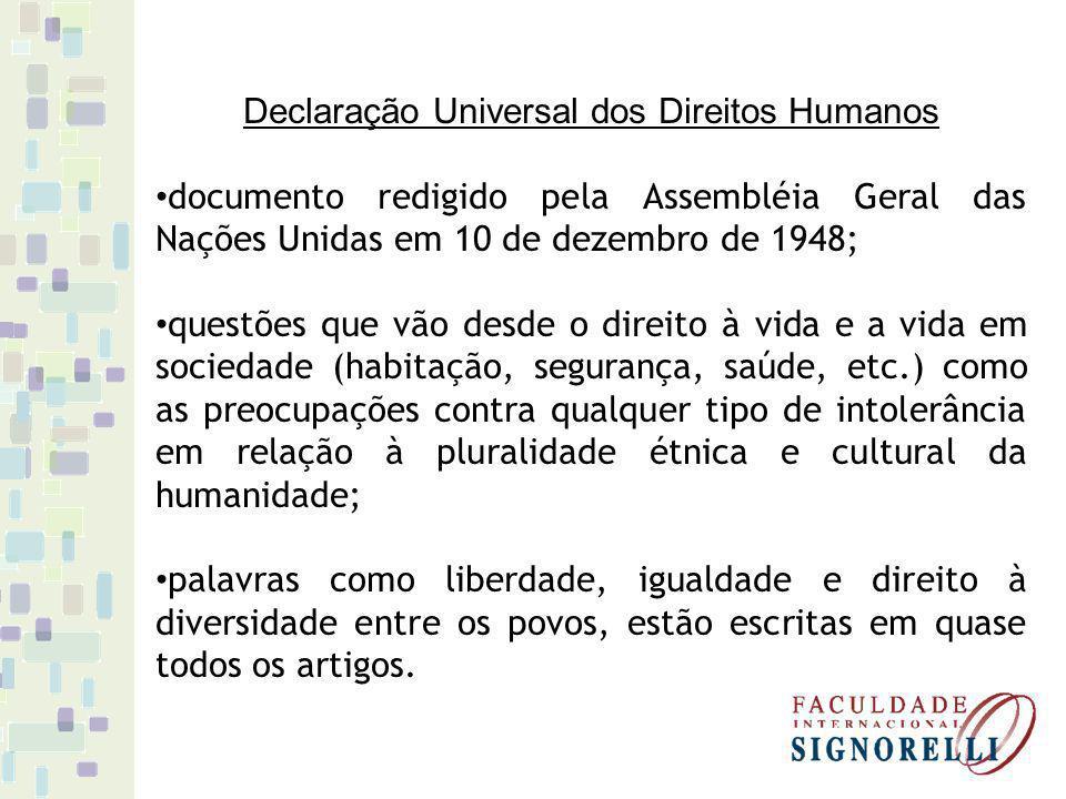 Declaração Universal dos Direitos Humanos documento redigido pela Assembléia Geral das Nações Unidas em 10 de dezembro de 1948; questões que vão desde