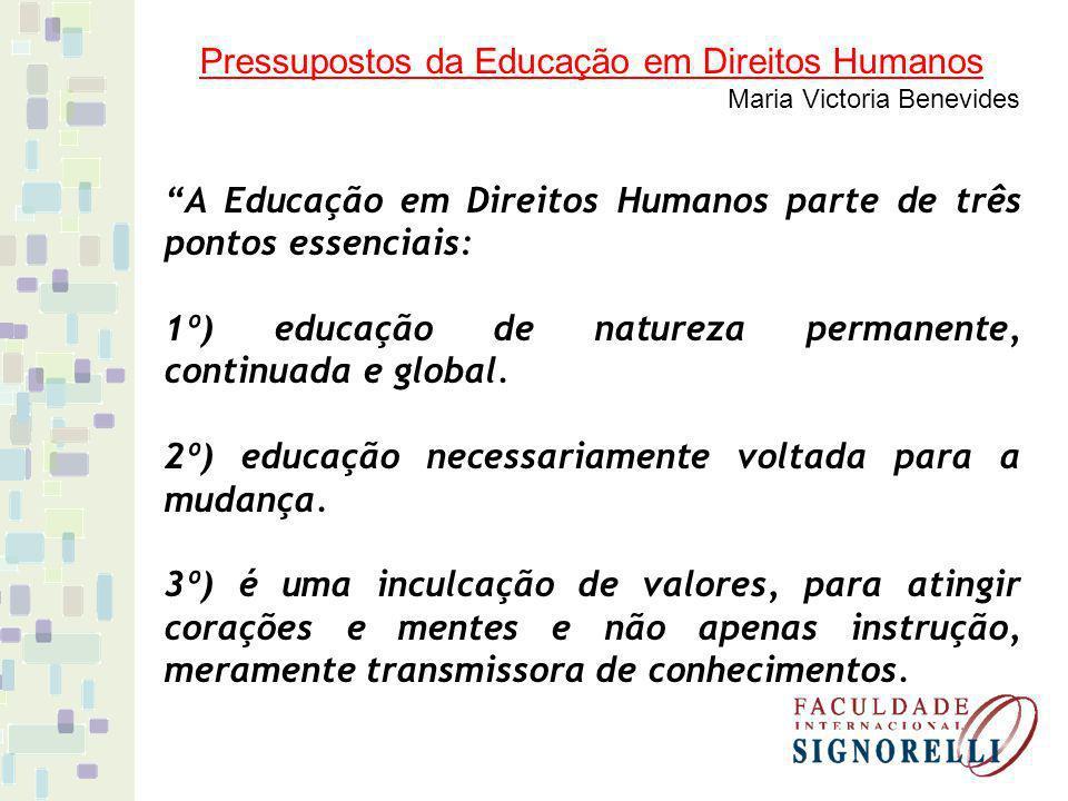 Pressupostos da Educação em Direitos Humanos Maria Victoria Benevides A Educação em Direitos Humanos parte de três pontos essenciais: 1º) educação de natureza permanente, continuada e global.