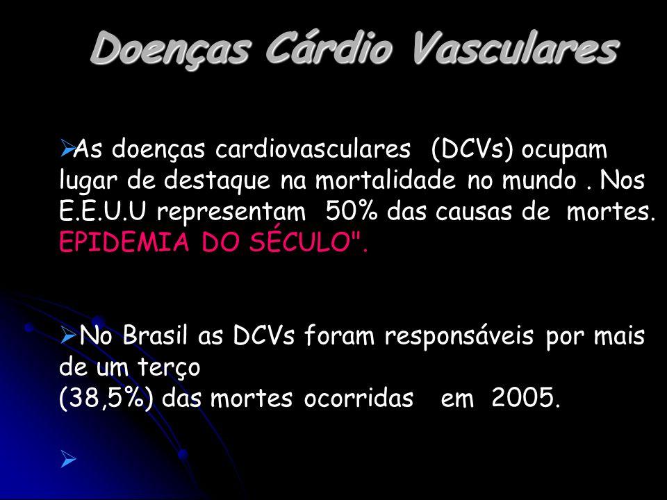 Doenças Cárdio Vasculares As doenças cardiovasculares (DCVs) ocupam lugar de destaque na mortalidade no mundo. Nos E.E.U.U representam 50% das causas