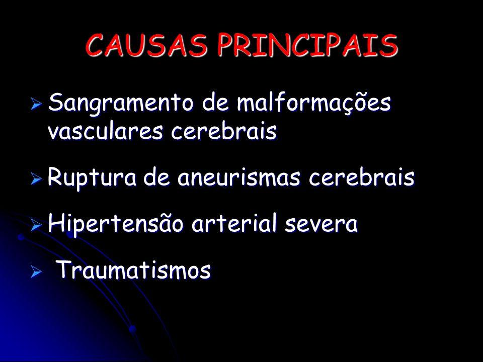 CAUSAS PRINCIPAIS Sangramento de malformações vasculares cerebrais Sangramento de malformações vasculares cerebrais Ruptura de aneurismas cerebrais Ru