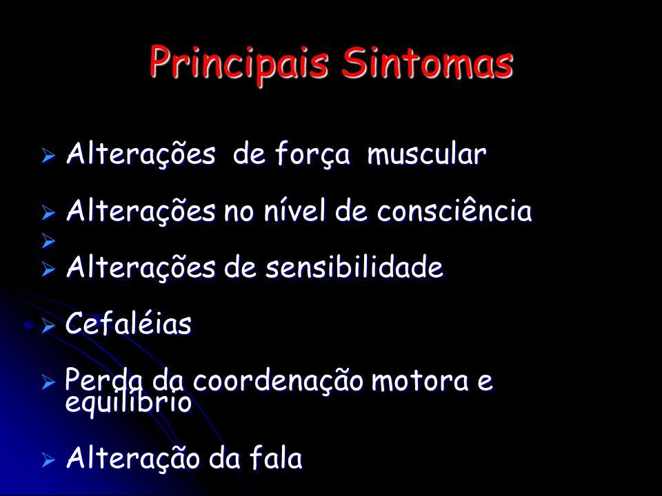 Principais Sintomas Alterações de força muscular Alterações de força muscular Alterações no nível de consciência Alterações no nível de consciência Al