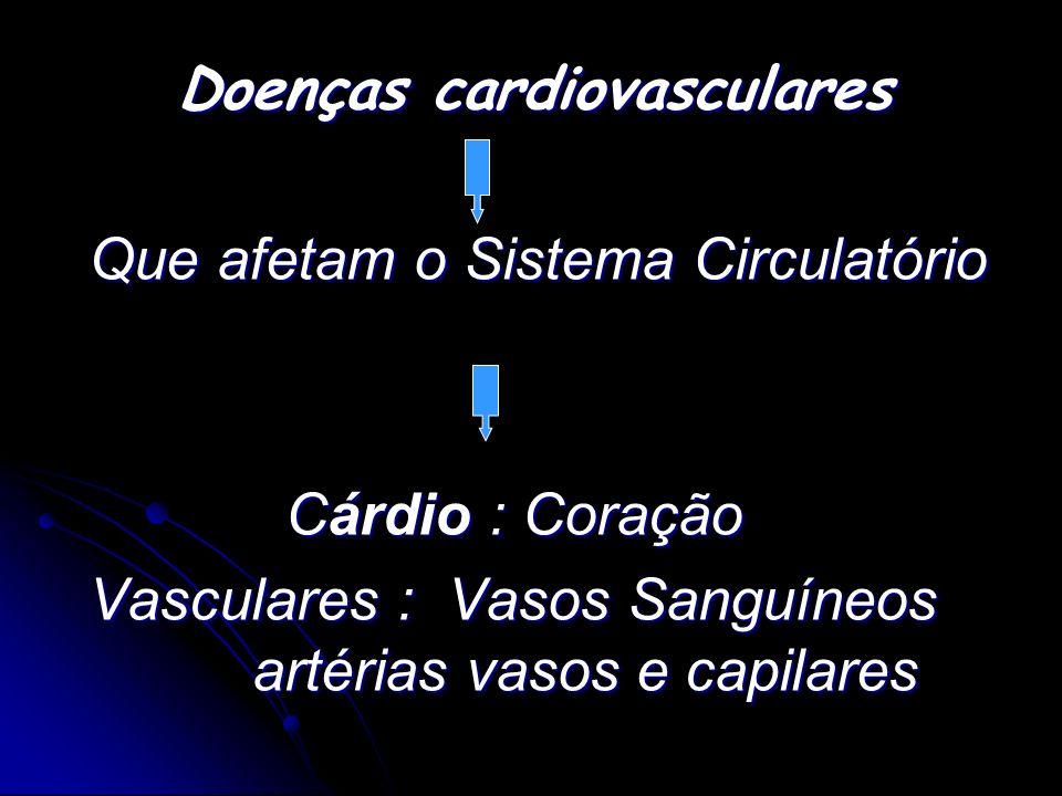 Doenças cardiovasculares Doenças cardiovasculares Que afetam o Sistema Circulatório Que afetam o Sistema Circulatório Cárdio : Coração Cárdio : Coraçã