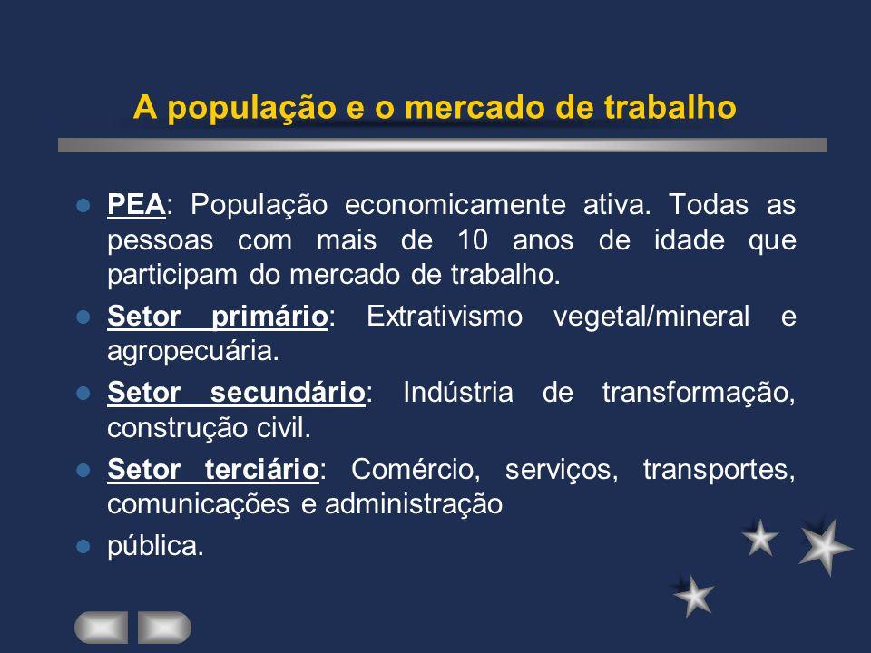 A população e o mercado de trabalho PEA: População economicamente ativa.