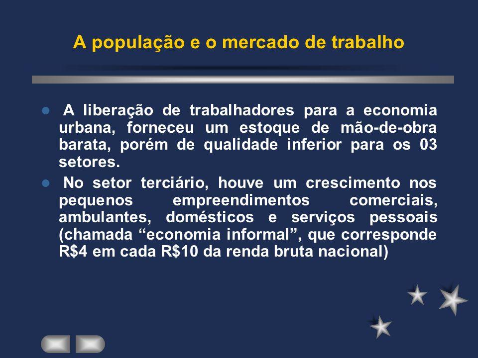 A liberação de trabalhadores para a economia urbana, forneceu um estoque de mão-de-obra barata, porém de qualidade inferior para os 03 setores.