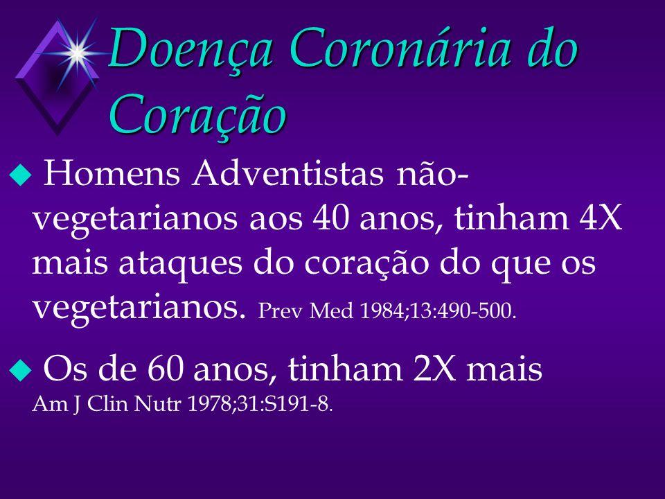 Doença Coronária do Coração u Homens Adventistas não- vegetarianos aos 40 anos, tinham 4X mais ataques do coração do que os vegetarianos. Prev Med 198