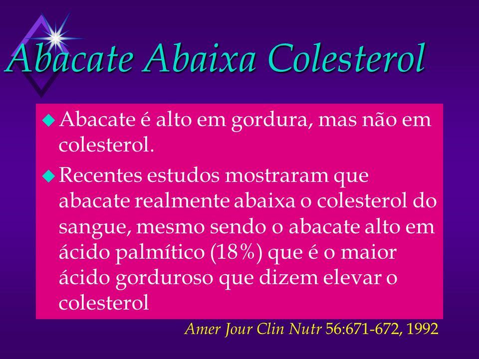 Abacate Abaixa Colesterol u Abacate é alto em gordura, mas não em colesterol. u Recentes estudos mostraram que abacate realmente abaixa o colesterol d