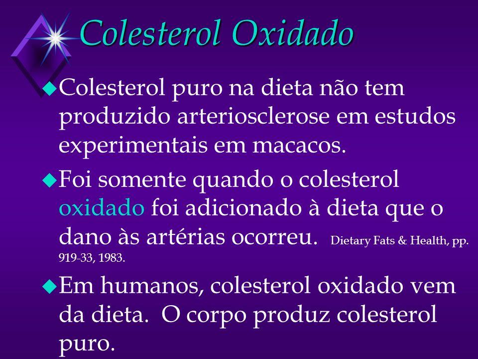 Colesterol Oxidado u Colesterol puro na dieta não tem produzido arteriosclerose em estudos experimentais em macacos. u Foi somente quando o colesterol